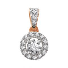 18kt Rose Gold Flush Prong Set Cluster With Solitaire Diamond Pendant  -8PU7N