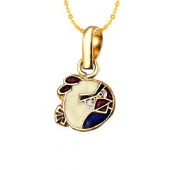Elegant Enamel Angry Bird 22kt Yellow Gold Pendant For Kids -BJEJ1007