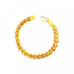 Traditional Textured Hallow Wedding Yellow Gold 22kt Bracelet -85-BTEJ007