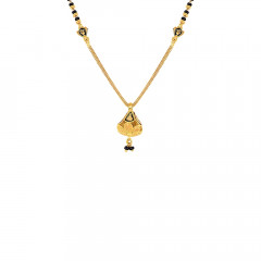 Delicate Black Bead Party Wear Yellow Gold 22kt Mangalsutra-MSEJ100112