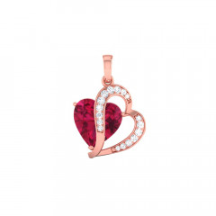 Sweet Heart Gemstone Rose Gold 18kt CZ Diamond Pendant-85-PSEJ100125