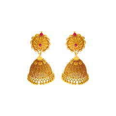Ceremonial Traditional Textured Gemstone Gold Jhumka