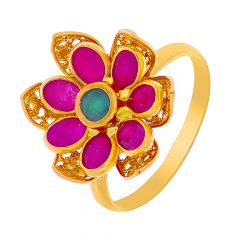 Blooming Gemstone Floral Gold Ring