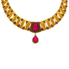Antique Textured Synthetic Ruby Gold Necklace