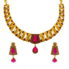 Antique Textured Synthetic Ruby Gold Necklace Set