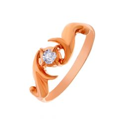 Glittering Single Diamond Gold Ring