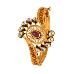 Mutlicolour With Kundan Feather Bangle  - 95779