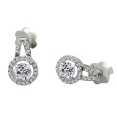 18kt White Gold Pave Prong Set Cluster With Solitaire Diamond Circle Earring-9F6E5