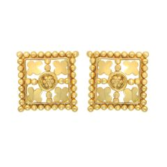 Traditional Square Embossed Bead Gold Earrings