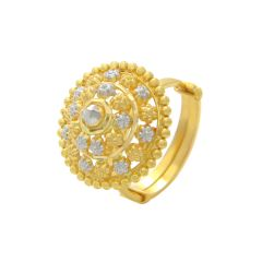 Traditional Dome Floral Adjustable Gold Ring