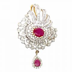 Sparkling Curved Drop Studded With Ruby Diamond Pendant