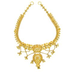 Traditional Textured Bead Gold Necklace