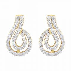 Sparkling Pave Prong Set Contemporary Design Diamond Earrings