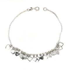 Glossy Finish Drop Heart Design Silver Bracelet
