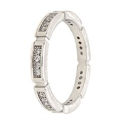 Glossy Oxidized Finish CZ Studded Band Design Silver Ring
