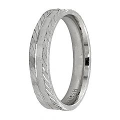 Glossy Finish Diamond Cut Band Design Silver Ring