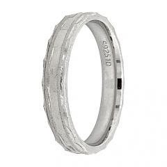 Glossy Finish Band Design Silver Ring