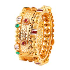 Elegant Antique Finish Embossed Beads Red Green With Kundan Stone Broad Gold Bangles - AK12