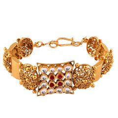 Glossy Antique Finish Red With Kundan Stone Studded Filigree Gold Bangles - AK20