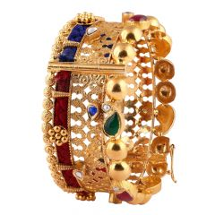 Glossy Antique Finish Curving Design Multicolour Kundan With Red Blue Thread Gold Bangles - AK26