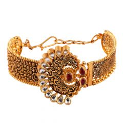 Glossy Antique Finish Embossed Design Red With Kundan Stone Filigree Gold Bangles - AK7