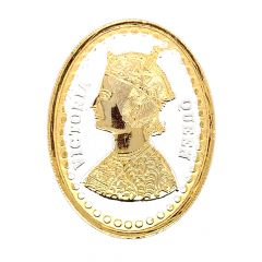Glossy Gold Polish Victoria Queen Design Silver Coin