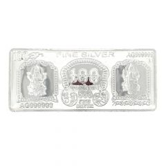 Glossy Finish Colour Engraved Laxmi Ganesh Design 100 Rs. Silver Note