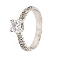 Glossy Finish Solitaire Design With CZ Studded Silver Ring