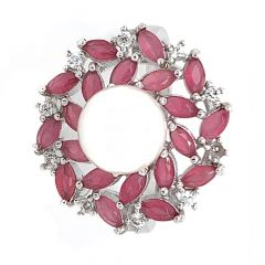 Glossy Finish Floral Design Synthetic Pearl Ruby With CZ Studded Silver Ring