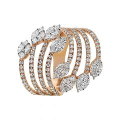 Elegant Spiral Marquise Princess With Round Brilliant Cluster Diamond  Ring - AR534