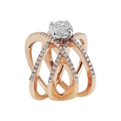 Sparkling Cluster With Invisible Set Crisscross Diamond  Ring - AR630