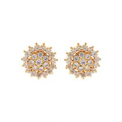 Bloom Floral CZ Gold Earrings