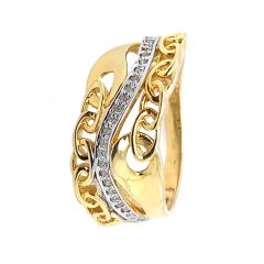 Sparkling Glossy Finish Curved Cocktial Design Diamond Ring