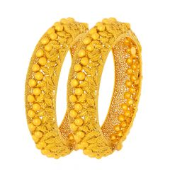 Trendy Filigree Textured Leaf Openable Gold Bangle (Set Of Two)