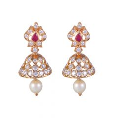 22kt Gold Flush Set Diamond With Ruby Jhumki Earring - BBDER04