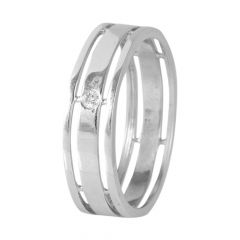 18kt White Gold Flush Set Single Diamond Mens Ring - BBDR15