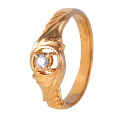 22kt Gold Prong Flush Set Single Diamond Ring - BBDR19