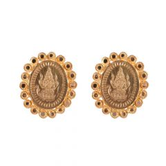 22kt Gold Lakshmi Oval Coin Earring - BBER11