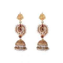 22kt Gold Stone Studded With Pearl Beads Jhumki - BBER23