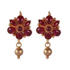 22kt Gold Cabochon Ruby Drop Gold Ball Earring - BBER40
