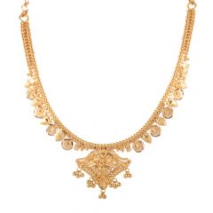 22kt Gold Diamond Cut Drop Floral Necklace - BBGNL02