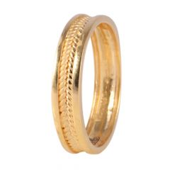 22kt Gold Matte Glossy Finish Embossed Leaf Ring - BBGR08