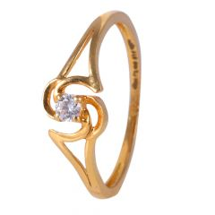 22kt Gold Single CZ Glossy Finish Ring - BBGR28