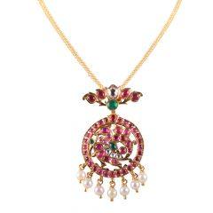 22kt Gold Multicolour Stone With Polki Drop Pearl Pendant - BBPD02