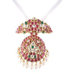 22kt Gold Cluster Multicolour Stone With Polki Drop Pearl Pendant - BBPD03