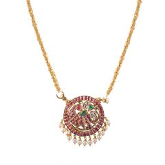 22kt Gold Multicolour Stone With Polki Peacock Round Pendant - BBPD04
