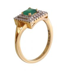 Glittering Pave Prong Set Square Design Synthetic Emerald Studded Diamond Ring