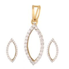 Sparkling Prong Set Oval Design Diamond Pendant Set