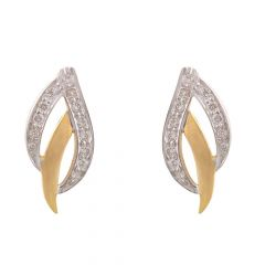 Sparkling Leafy Design Diamond Stud Earrings