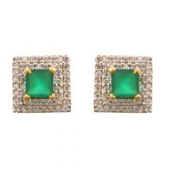 Glittering Pave Prong Set Square Design Synthetic Emerald Studded Diamond Earrings
